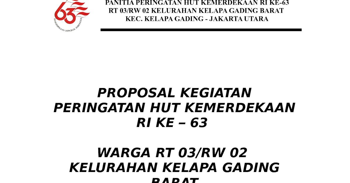 Contoh Proposal Pengajuan Kegiatan HUT RI ~ Kukuh Nur Faizal