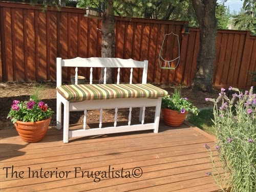Twin bed head and footboard turned into a garden bench