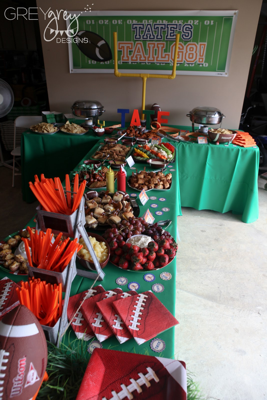 Greygrey Designs My Parties Tate S Tailg8 Football Party