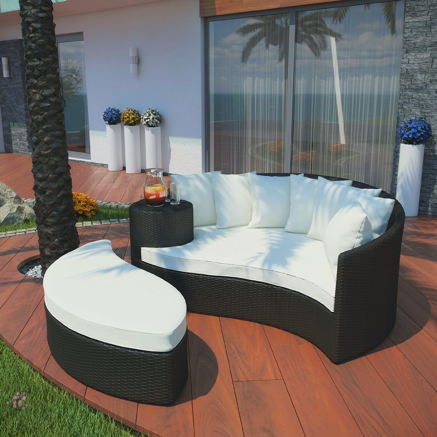 LexMod Taiji Outdoor Wicker Patio Daybed with Ottoman in Espresso with White Cushions