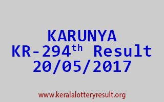 KARUNYA Lottery KR 294 Results 20-5-2017
