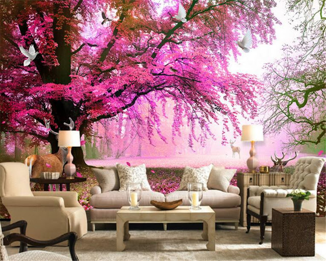 Nature Wall Murals Fantasy Sakura Tree 3D wallpaper living room bedroom decoration Pink Tree
