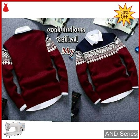 AND153 Sweater Pria Columbus Tribal Merah Maroon BMGShop