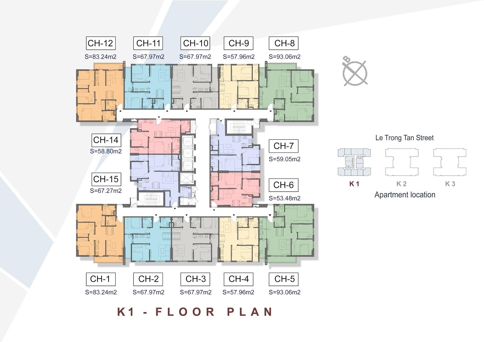 Thiết kế mặt bằng tổng thể tòa K1 - The K Park