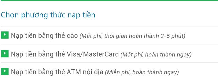Nạp tiền online bằng thẻ cào điện thoại trên hệ thống bảo kim