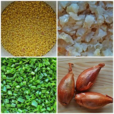 Jaglane kotlety z rybą i szalotką - składniki