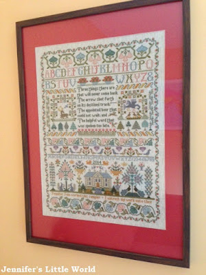 Moira Blackburn Three Things cross stitch sampler