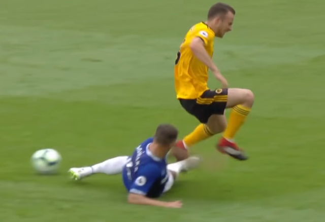Phil Jagielka controversial slide tackle Everton vs Wolves