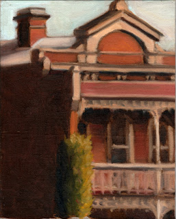 Oil painting of the second story of a double-story Victorian-era red-brick house with an Italian cypress in the foreground.
