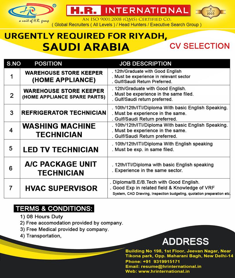 CV Selection for Riyadh Saudi Arabia