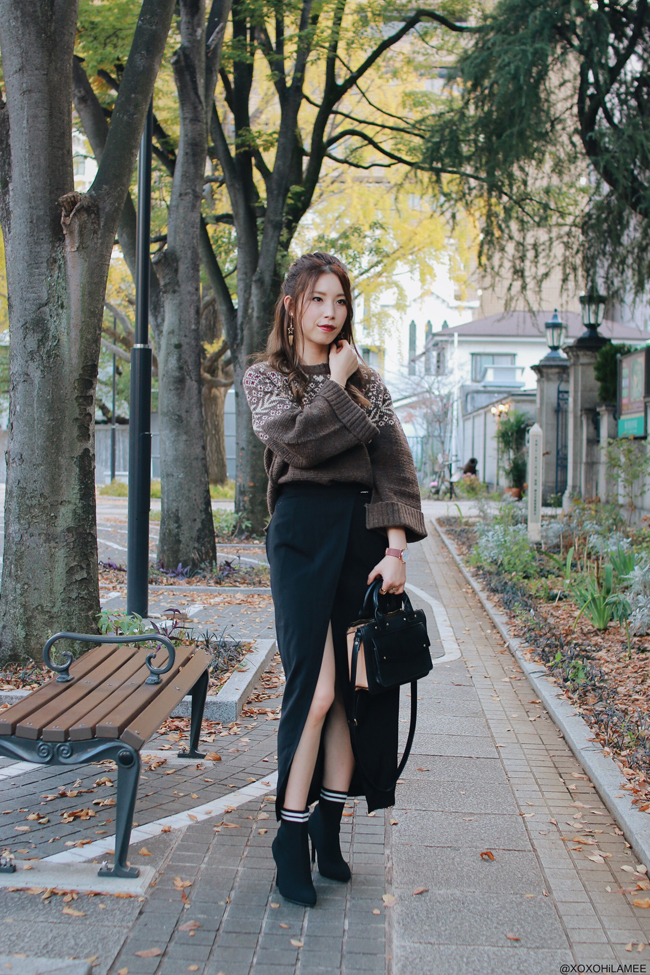 Japanese Fashion Blogger,MizuhoK,OOTD,omni7 christmas party look,FUR FUR-nordic knit sweater,CHOIES-wrap skirt,SheIn-sock boots,star earrings,ZARA-bag,Andreas Ingeman-Watch