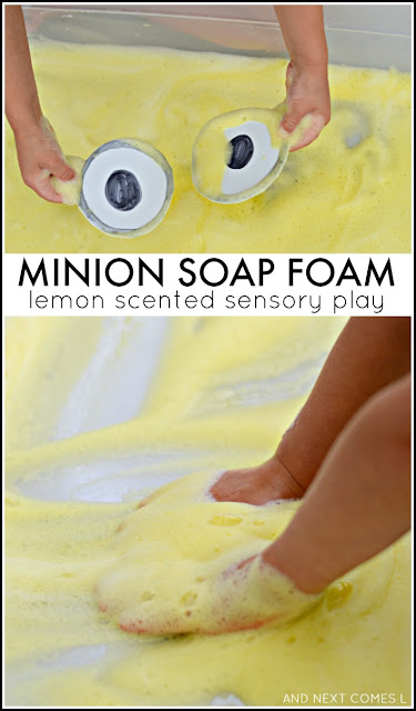 Minion inspired soap foam: lemon scented sensory play for kids from And Next Comes L