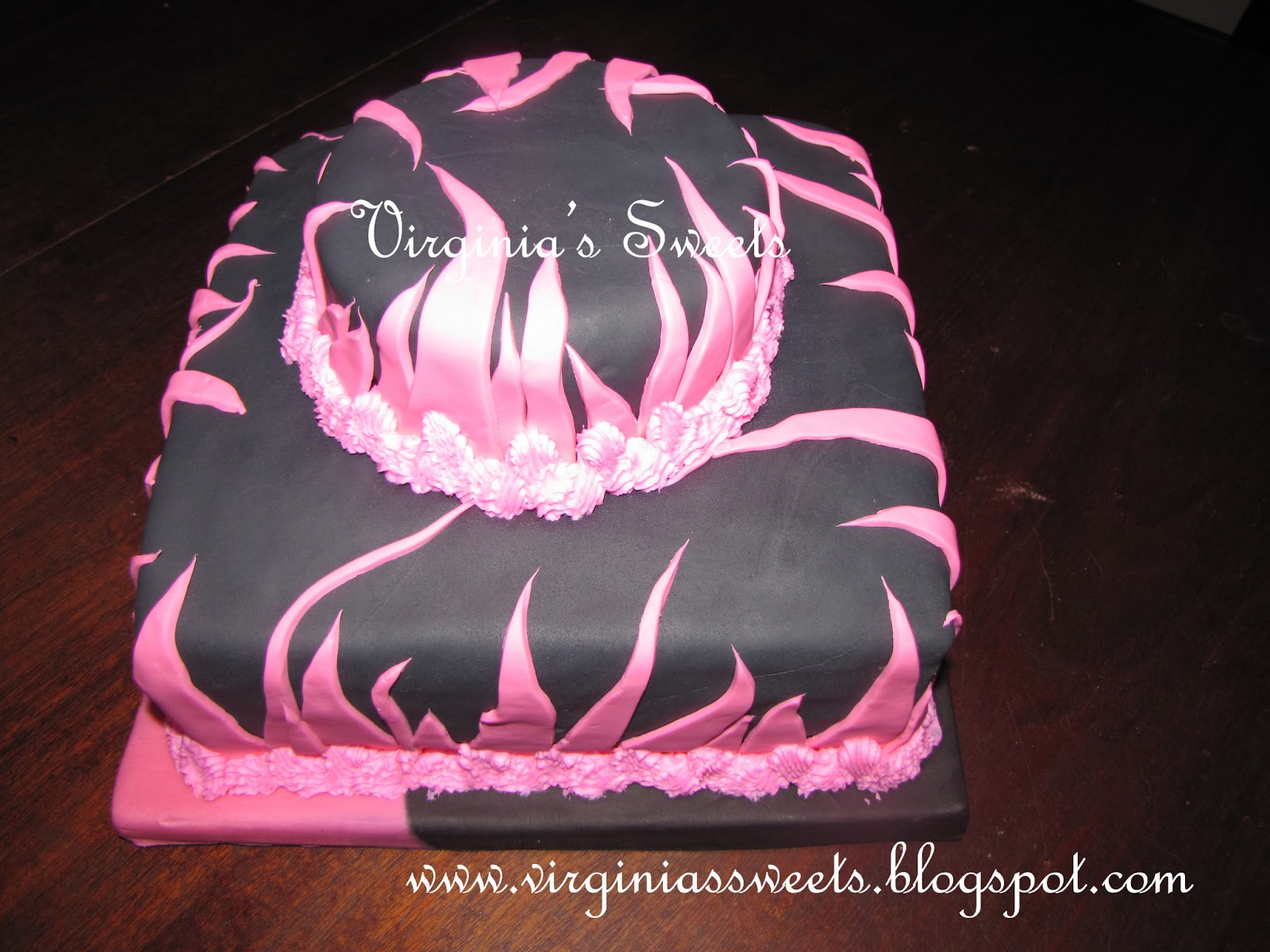 Virginia's Sweets: Pink Fire Wedding Shower Cake