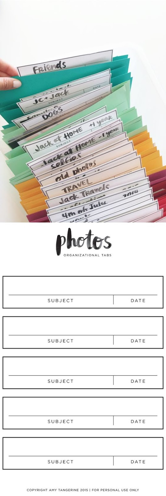 Photo organizer free printable