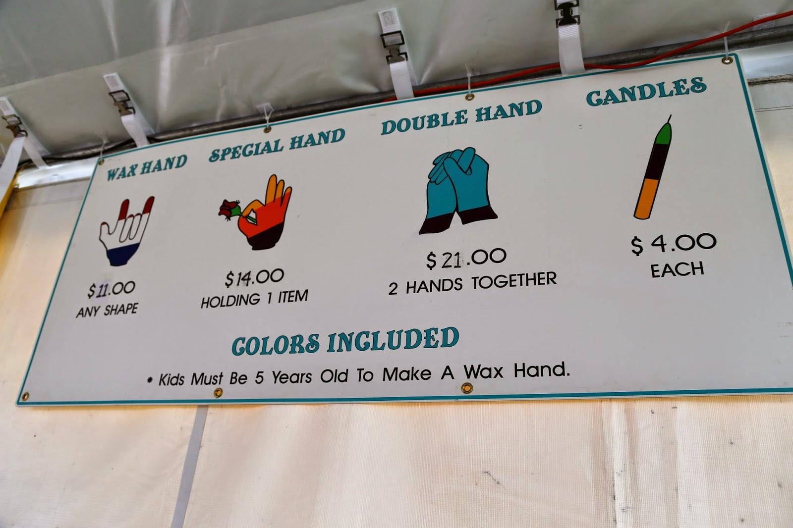 Wax hand stand, Alaska State Fair