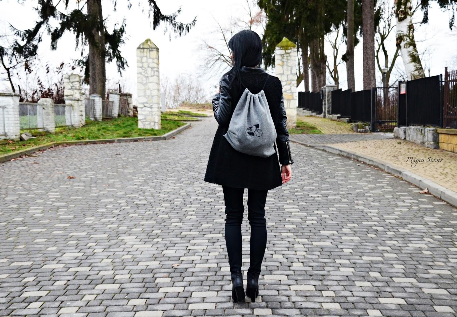plecak, plecak-worek, plecak z haftem, szary plecak, dresowy plecak