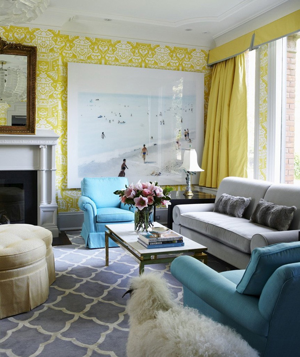 Blue Living Room: Baby Green: Monday Color: Lemon And Aqua