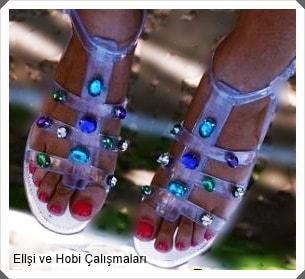 Elişi Boncuk Taşlarla Sandalet – Terlik Süsleme Modeli Yapımı Açıklamalı
