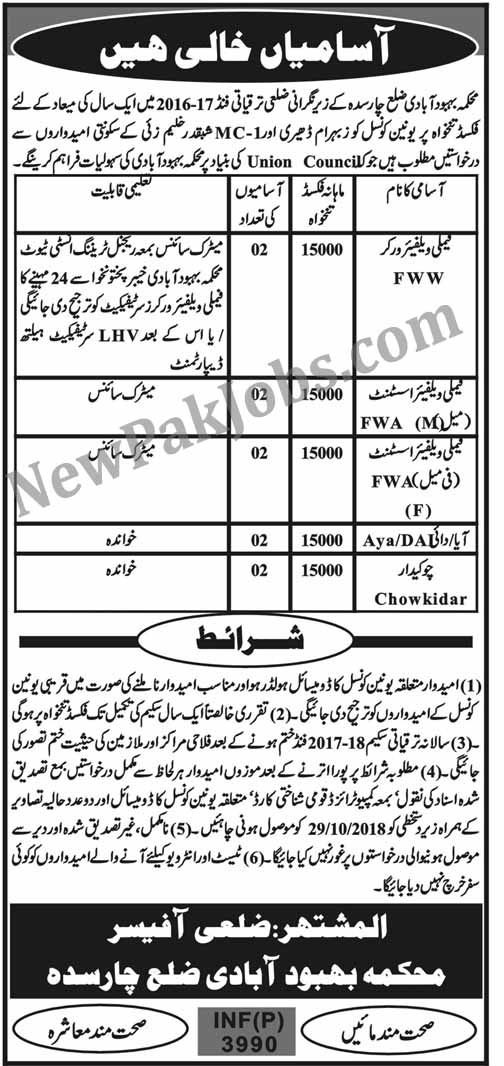 New Govt Jobs in Charsadda -  Population Welfare Department