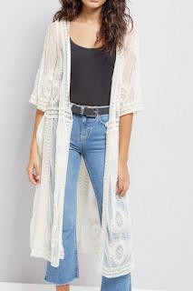 Cream Crochet Mesh Longline Kimono - NEW LOOK