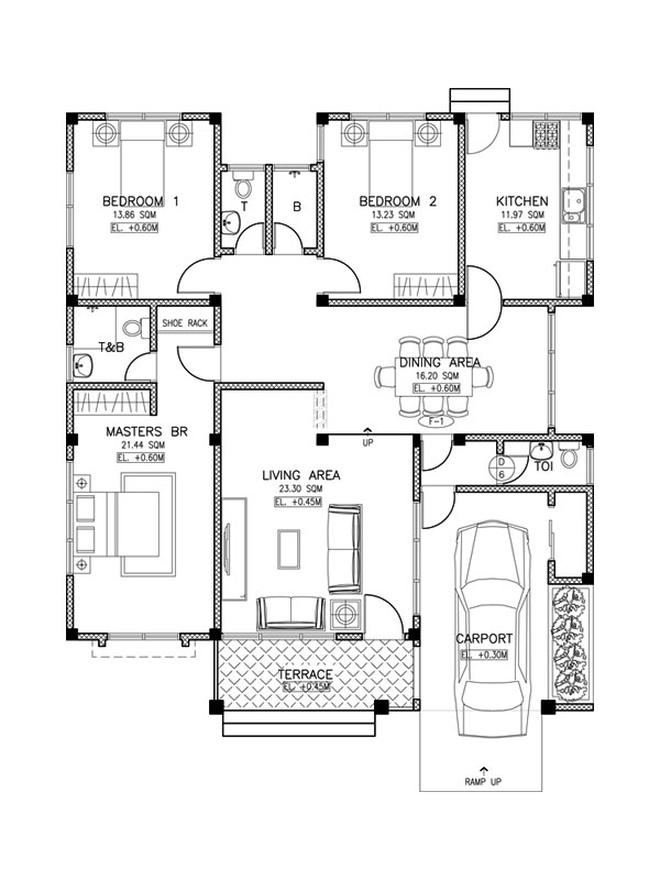 Simple 3 bedroom home blueprints and floor plans and for Three bedroom house layout