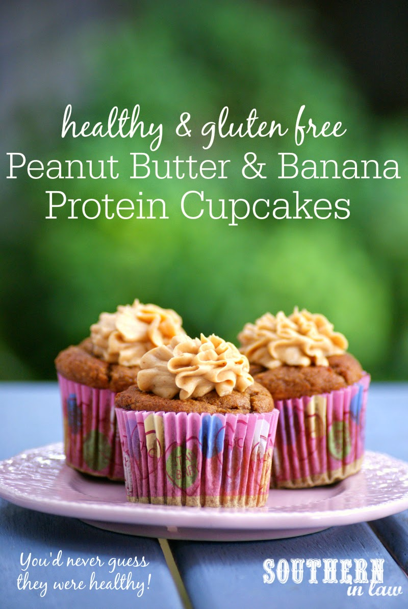 Low Fat Peanut Butter and Banana Protein Cupcake Recipe  low fat, low carb, gluten free, high protein, sugar free, clean eating friendly