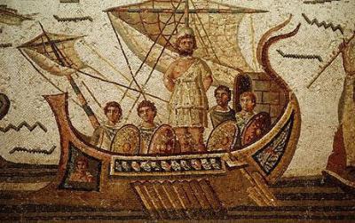 Ulisses em seu navio voltando para Ítaca