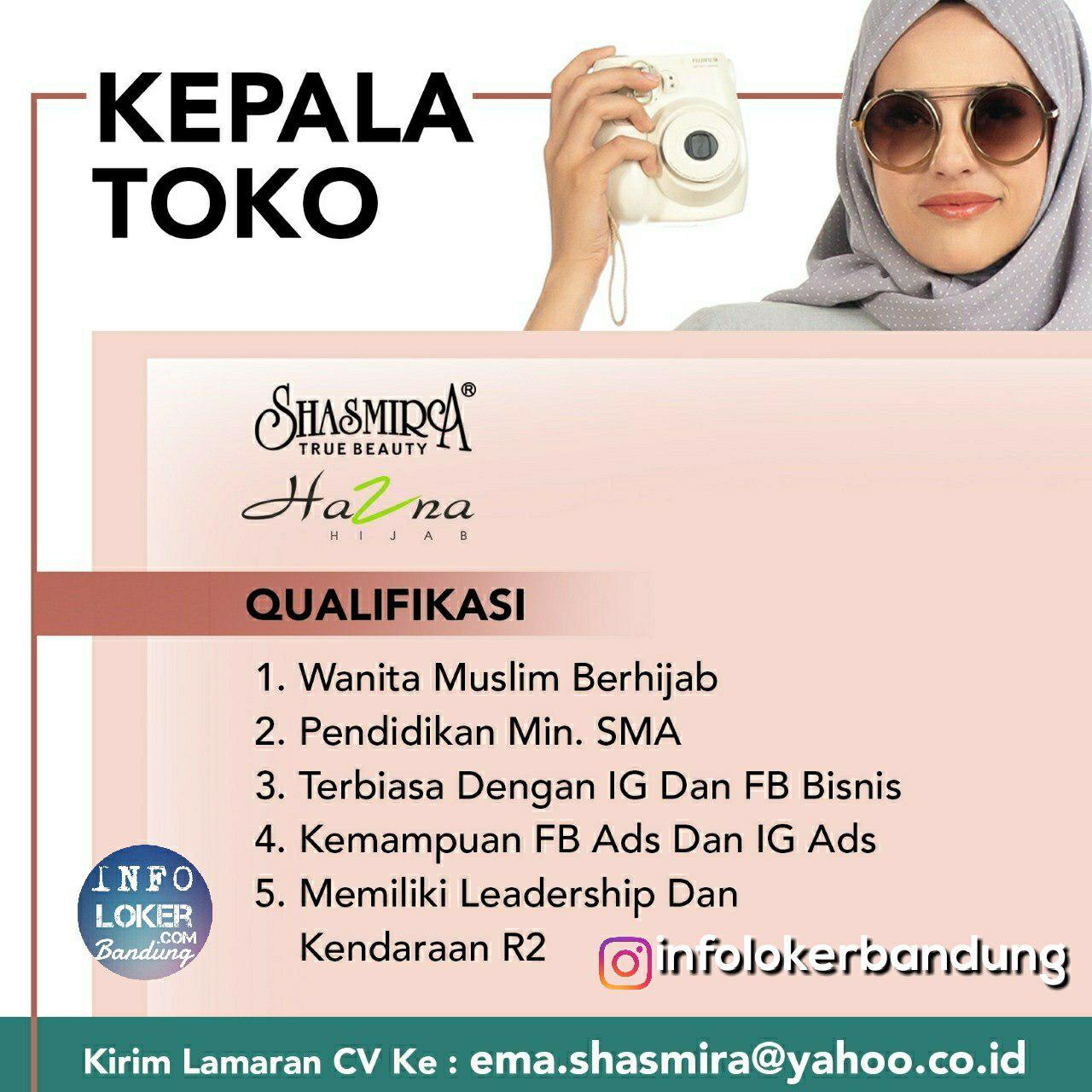 Lowongan Kerja Kepala Toko Shasmira Bandung November 2018