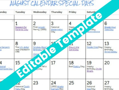 August Special and Fun Days Calendar 2018