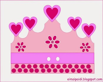 Pink Hearts and Flowers: Free Printable Crown or Tiara.