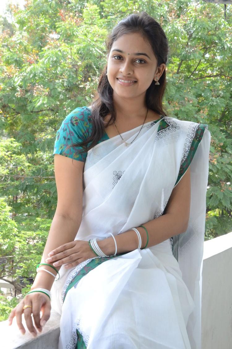 Sri divya gorgeous in white saree