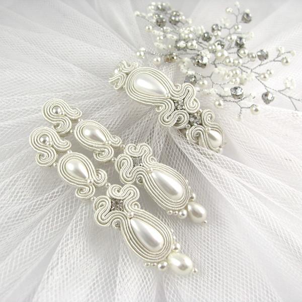 Sutaszowy komplet ślubny z perłami i cyrkoniami.