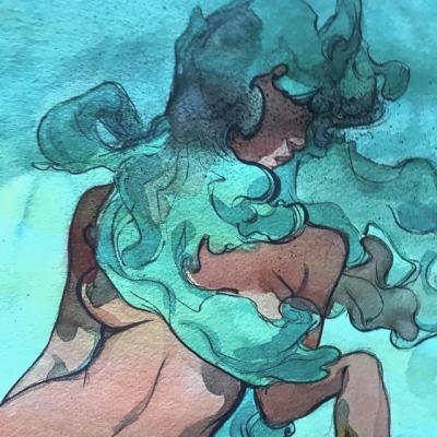 Desnudo estilizado de mujer cabello azul