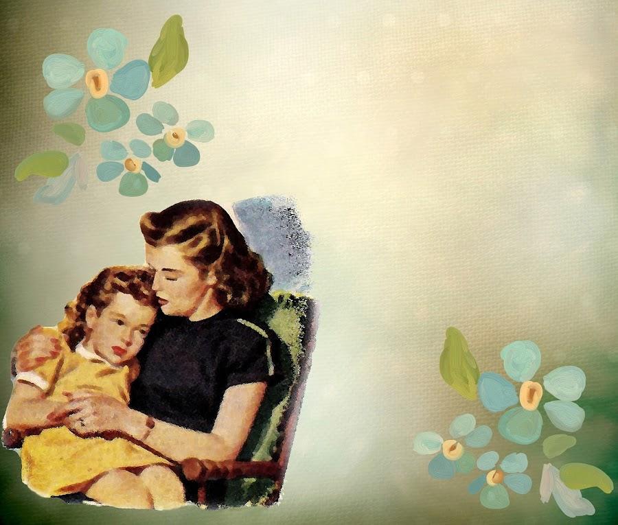 Mamá e hija abrazadas ilustración