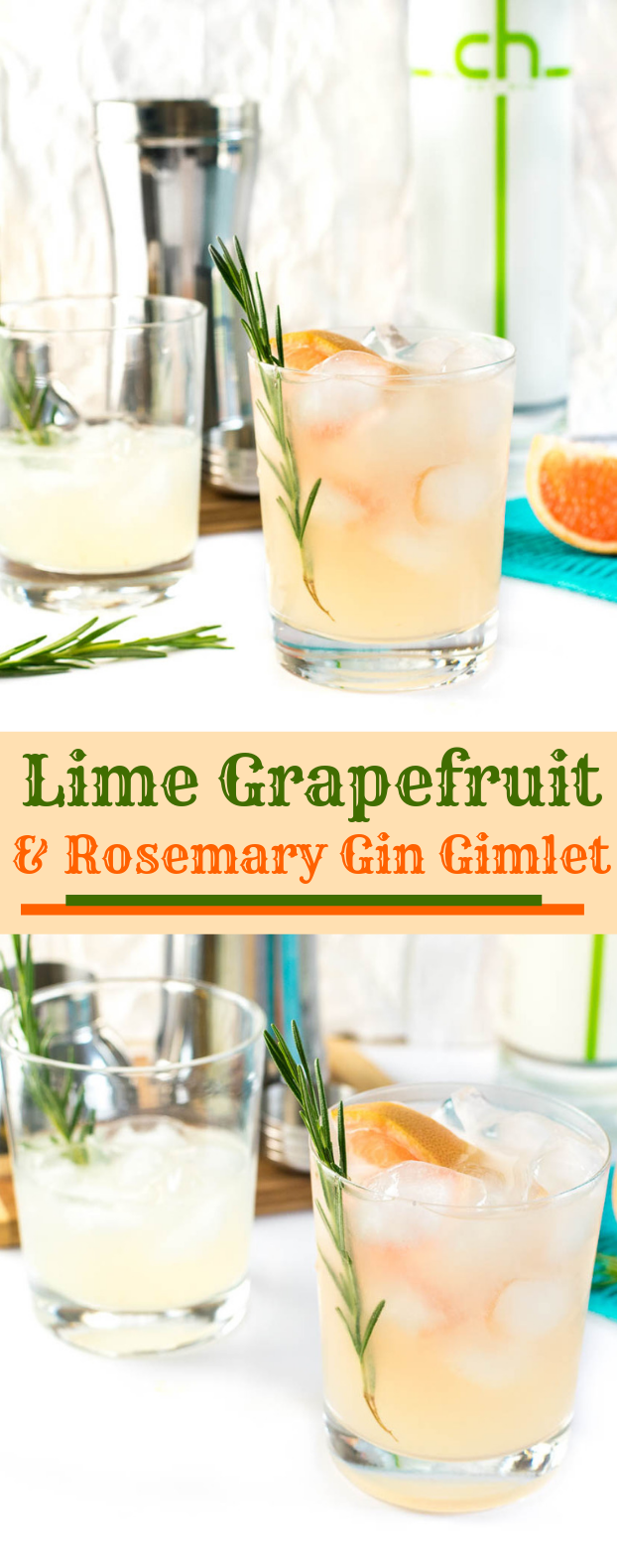 LIME GRAPEFRUIT AND ROSEMARY GIN GIMLET #drink #cocktail