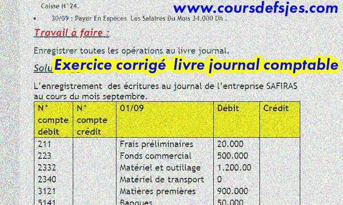 Le Livre Journal Comptable Exercice Corrige Cours Fsjes