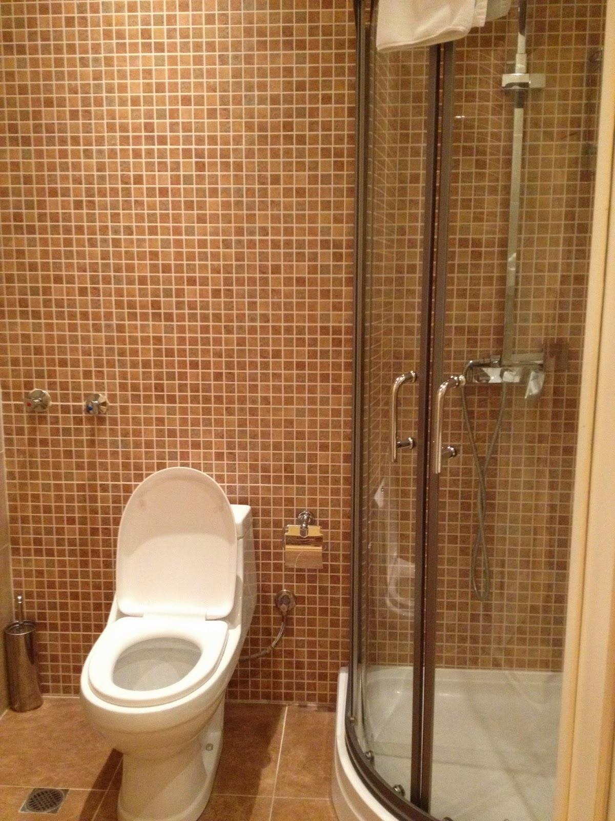 アゼルバイジャンのホテルにあるガラス張りのシャワー室とトイレ
