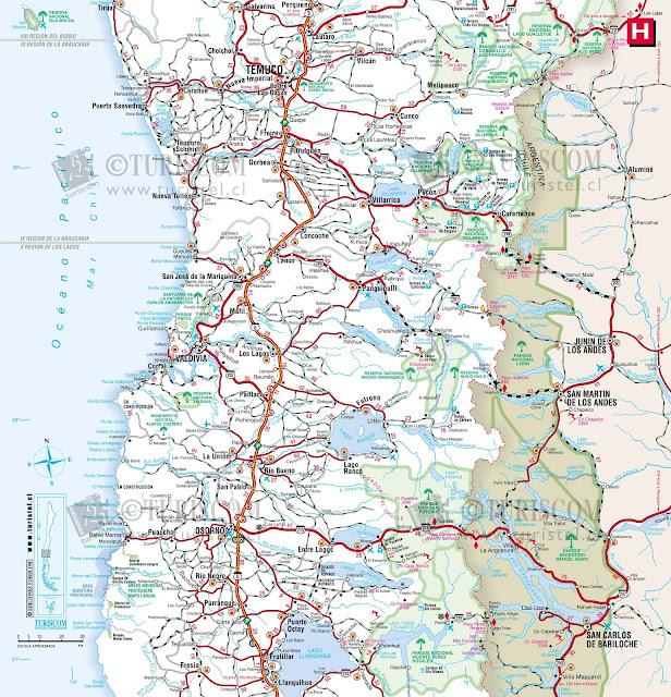 Mapa do Chile – Região 9 - Araucania