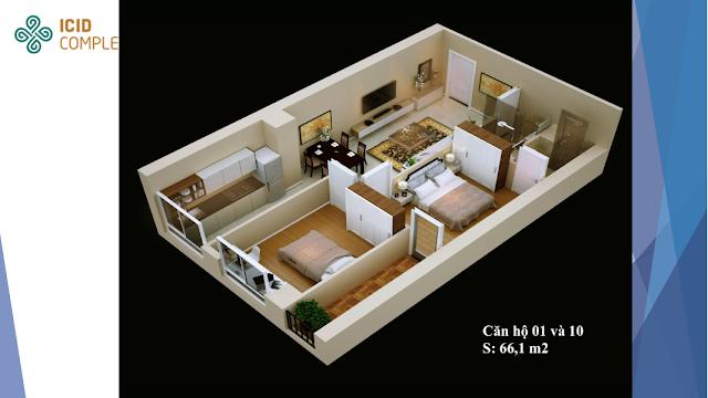 Thiết kế căn hộ 01 và 10 diện tích 66,1 m2 ICID COMPLEX