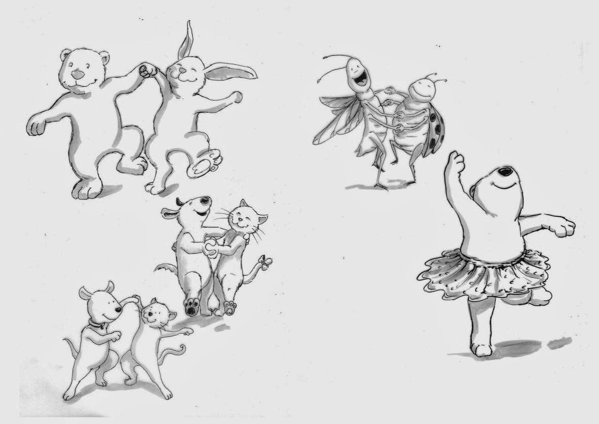 Kinderbuchillustration, Tiere, tanz, animals, dancing, children's book illustration