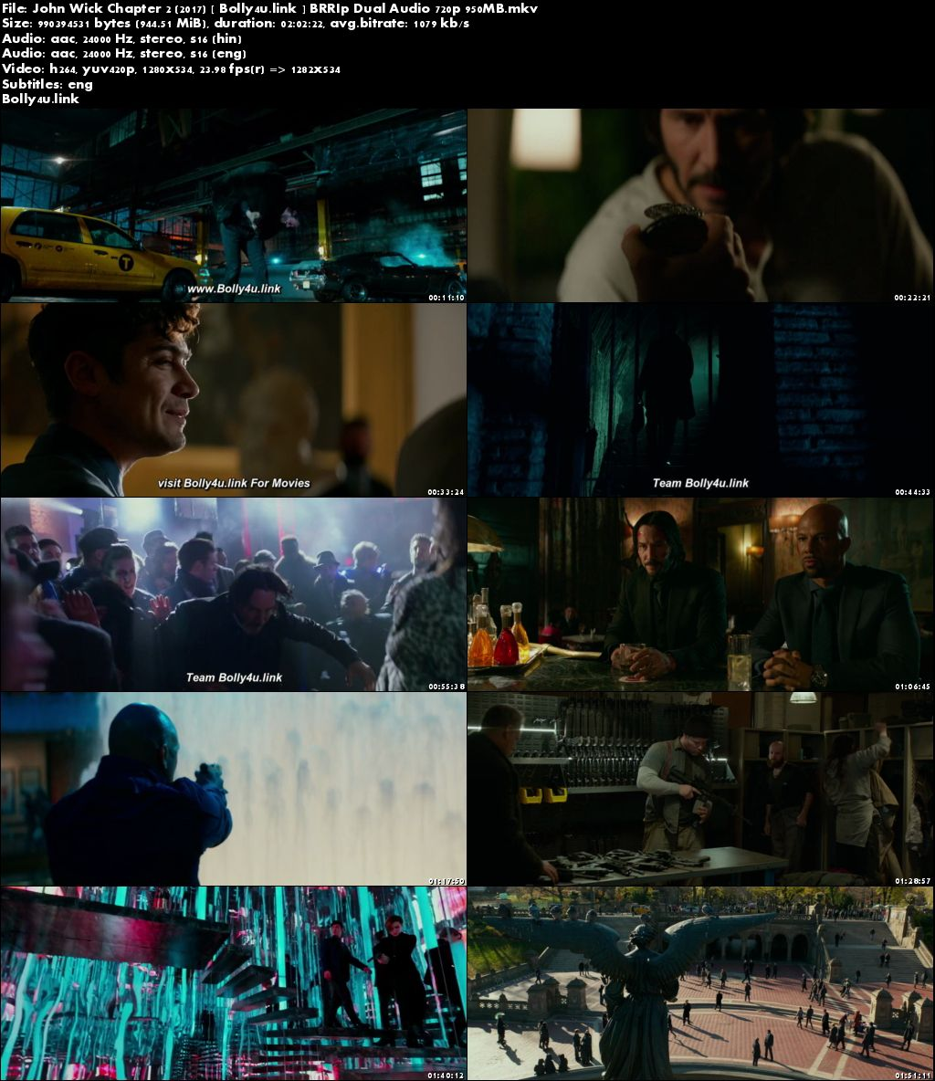 John Wick Chapter 2 2017 BRRip 350Mb Hindi Dual Audio 480p Download