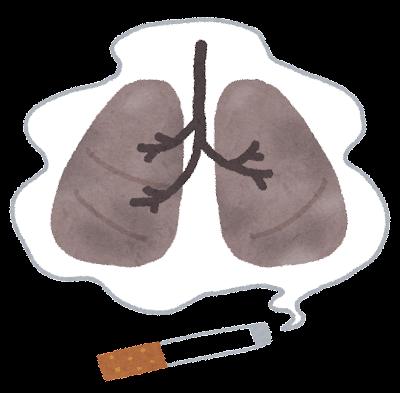 煙草で黒くなった肺のイラスト