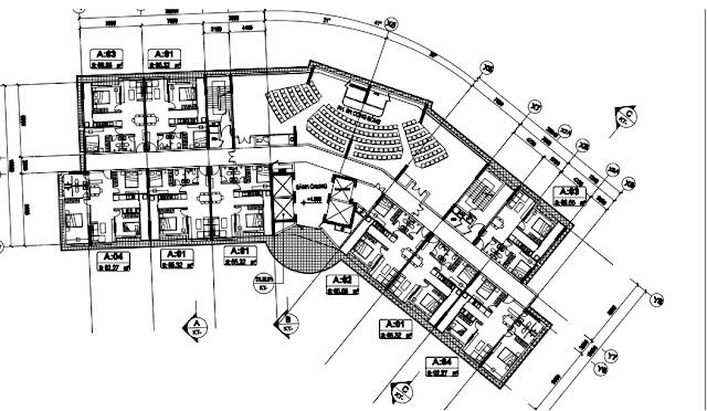 Mặt bằng tầng 2 tòa T1 chung cư B1.3 Thanh Hà