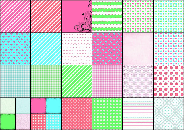 Sweet Free Printable Papers in Colors.