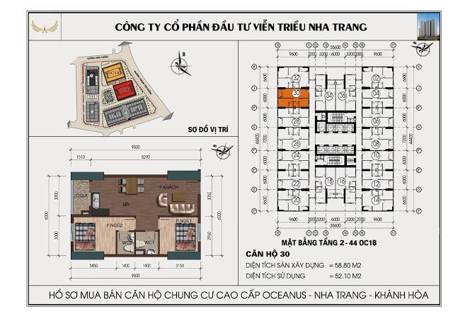 Sơ đồ căn hộ số 30  tòa OC1B Viễn Triều Nha Trang