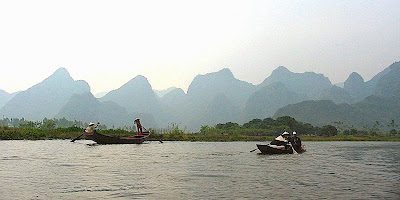 Pilgrims at Yen River, Hanoi, Vietnam