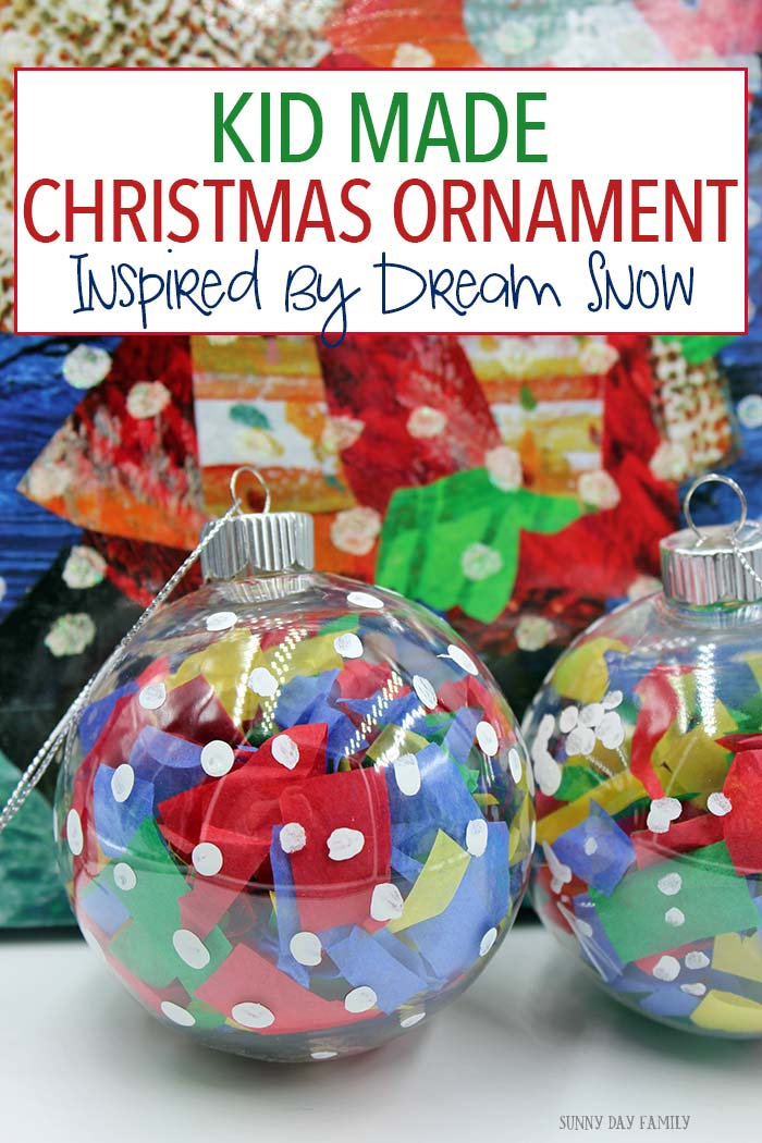 Kids can create this Christmas ornament inspired by Dream Snow by Eric Carle. A really fun book inspired Christmas craft that is perfect for all ages!
