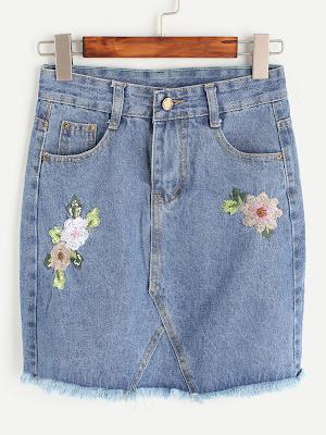 Saia jeans bordada flores