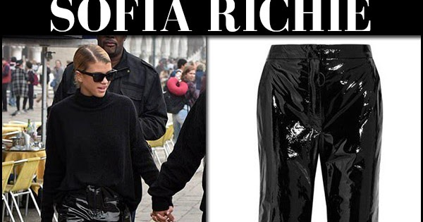 sofia richie in black patent pants and black sweater in italy on october 17 i want her style what celebrities wore and where to buy it celebrity style