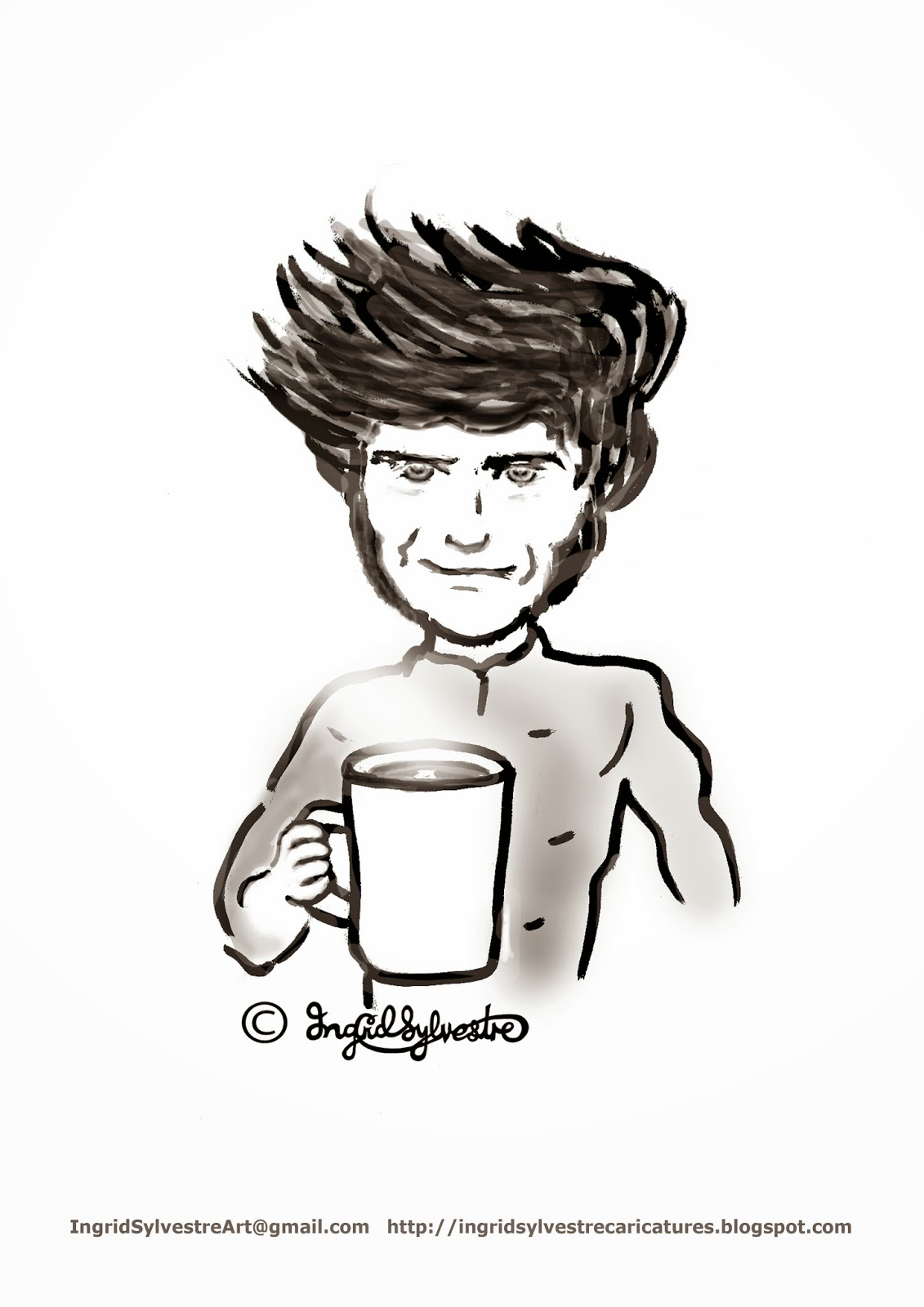 Guy Martin TT motorcycle racer with brew of tea - Ingrid Sylvestre caricature artist UK